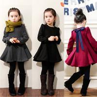Wholesale Velvet Dresses For Kids - High Quality Girls Dress Autumn Winter Thick Velvet Cotton Children Clothing Ruffles Long-Sleeved Kids Dresses for Girls WG027