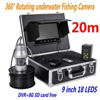 """Wholesale Tft Finder - 9"""" TFT Monitor HD Underwater Fishing camera 18pcs LED fish Finder 360 Degree Rotating Fishing Video Camera with 20m Cable F08A ann"""