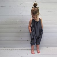 Wholesale Size Suits Suspenders - 2017 New Summer Girls boys Onesies Romper Suit Overalls Baby Kids Cotton Suspenders Leisure Slip Jumpsuit Infant Toddler Jumper Knickers