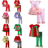 Wholesale Red Striped Tulle Girls Dress - Baby Girls Fashion Autumn Bowknot Suits Christmas Stripe Lace Tulle Dot T-shirt Dress+Pants Sets Long Sleeve Pajamas Infant Boutique Outfits