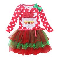 Wholesale Mini Gift Bows - 2017 Girls Lace Dresses Santa Point Red Long sleeve Dress With Bow Decoration Kids Clothes Baby Christmas Gifts Clothing