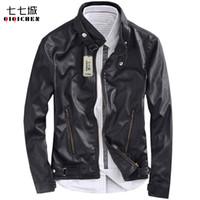 Wholesale Jacket Cuir Men Black - Wholesale- Black Leather Jacket Men Motorcycle Stand Collar Fashion Korean Classic Blouson Simili Cuir Homme Bomber Jackets Men Veste Homme