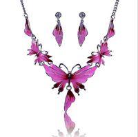 Wholesale Vintage Austrian Rhinestones - Women's Vintage Alloy Austrian Crystal Earrings Enamel 4 Color Butterfly Choker Necklace Jewelry Sets Chain Necklace Earrings sets QD