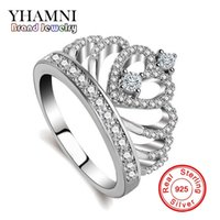 Wholesale Princess Crown Wedding Rings - YHAMNI Luxury 925 Sterling Silver Rings Princess Queen Crown Engagement Ring Luxury CZ Diamond Authentic Sterling Silver jewelry KYRA017