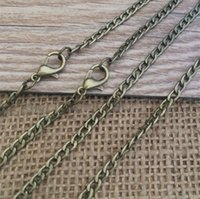 Wholesale Antiqued Chain Wholesale - 100pcs lot antiqued brass tiny curb chain (3 color ) -22inch Necklace Chain 3MMX5MM