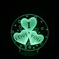 Wholesale I Usb Lead - USB Lights Lamp Led Heart Love Touch Table Lamp 3d for Fairy Wedding decoration Night Lights and Gifts Valentine's I Love You