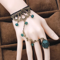 Wholesale China Girl Movie - Mixed Color Retro Flower Rattan Crystal Lolita Temperament Lace Bracelet With Ring Jewelry For Girls