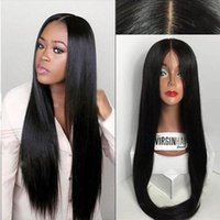 Wholesale European Remy Wigs - 8A Silk Top Full Lace Wigs   Human Hair Lace Front Wig With Baby Hair Unprocessed Brazilian 4*4 Silk Base Lace Wigs Black Women