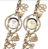 Wholesale Petal Watch - Lucky Petals Bracelet Watches Women Gold Crystal Rhinestone Fashion Watch Ladies Casual Relogio Feminino orologio donna
