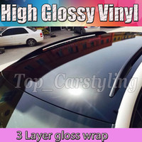 Wholesale Glue Foils - 1.52x20m 3 Layers Gloss Black Vinyl Car Wrap Sticker Air BUBBLE Free Shiny piano black Top quality glossy foil