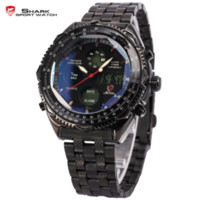 Wholesale Shark Military Sports Watch - Eightgill Shark Sport Watch Digital LCD Analog Stainless Steel Band Date Day Chronograph Black Men Military Quartz Watches SH116