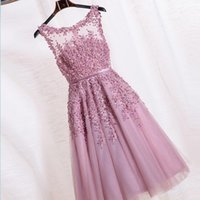 Dress Gowns online - 2016 New Crew Neck Lace Knee Length Cocktail Party Dresses Organza Lace Applique Beaded Short Party Evening Gowns Cheap Bridesmaid Dress