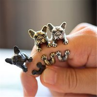Wholesale Dog Ring Fashion - Wholesale-Ocean New Fashion 3 color Vintage antique Hippie Chic Dog open size Ring Cute Animal Ring factory price fine Jewelry J011