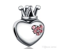 Wholesale Jewerly Crown Necklaces - 20pcs Alloy big hole bead love crown Charms Jewelry Interchangeable Jewerly Charms Pendants Necklace DIY Bracelet 2016 October Style