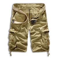 Wholesale Men S Work Pants - Wholesale-Mens Military Cargo Shorts 2016 Brand New Army Camouflage Shorts Men Bermuda Loose Work Casual Short Pants Plus Size No Belt