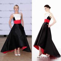 Wholesale Evening Diane Kruger - 2016 Diane Kruger Gorgeous High Low Red Carpet Dress Celebrity Evening Dresses Backless Prom Gown Black Stain Spliced Custom Made