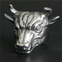 edelstahl stier großhandel-Beliebte Ring 316L Edelstahl Schmuck Ring Coole Herren Biker Bull Ring Sharp Horn Ring