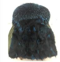 Wholesale Detachable Raccoon Collar - Ladies mini parkas with Raccoon fur collar women's green jacket Japan UK Tick real fox fur Liner Detachable
