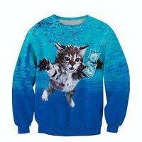 Wholesale Dollar Hoodie - Wholesale-Raisevern newest design 3D fashion sweatshirts cat cobain printed long sleeve pullovers funny kitten pick up dollars hoodies