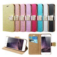 Wholesale Iphone Glitter Flip Case - Glitter Bling Rhinestone Diamond Flip PU Leather Wallet Case for iPhone 7 plus 6S Plus 5 SE Bag Case Stand Holder Card Slot
