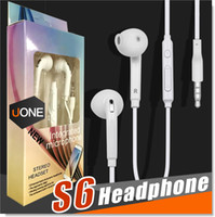 Wholesale Control Headphone - S6 S7 Earphone Earphones J5 Headphones Earbuds iPhone 6 6s Headset for Jack In Ear wired With Mic Volume Control 3.5mm White With RetailBox