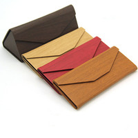Wholesale Eyeglasses Cases Free Shipping - New Wood Glasses Case Folding Triangle Lightweight Portable Sun Glasses Case Wooden Pu Leather Sunglasses Box 10Pcs lot Free Shipping