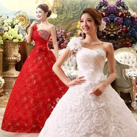 Wholesale Embroidery Wedding Dress One Shoulders - 2016 fashion Vestido De Novia One Shoulder Lace Flower Sweet Wedding Dresses 2015 Bridal White and Red Plus Size Long Wedding Ball Gowns
