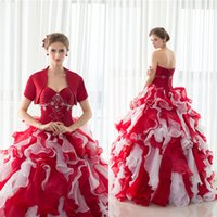 Ball Gown cascade mix - 2017 Elegant Red Ball Gown Quinceanera Dresses Mix Colour Tulle Floor Length Sweet Dresses Vestidos De Quinceanera With Wrap