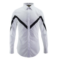 Wholesale China Fit Shirts - Good quality men's Designer Brand long sleeve shirts mens black & white china style stipe shirt man slim fit plus size clothing