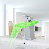 Wholesale Glass Led Tap - Wholesale- LED Bathroom Faucet Glass Chrome Finish Waterfall Bathroom Basin Mixer Tap One Handle Sink Faucet
