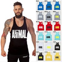 Wholesale Beige Tank Top Xl - Hot Sale Brand GYM Animal Tank Tops For Men Bodybuilding Mens Muscle Tanks Tops Fitness Stringer Cotton Vest Shirts