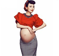Wholesale sexy dresses for pregnancy resale online - Sexy maternity photography props red bowknot costume set maternity clothes for photo shoots pregnancy dress photography
