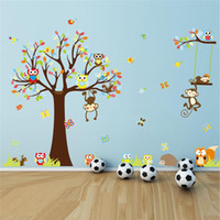 ZY1212 adorable arbre de mur autocollants Cartoon Squirrel Owl Monkeys 4pcs 30 * 90cm 150 * 234cm Décoration murale de décoration murale de nurserie de chambre d'enfants 1212