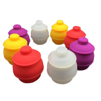 Wholesale Wax Pots - 1 Piece Honey Pot Silicone Container BHO Oil Butane Vaporizer Silicon Jars Dab Wax Container New