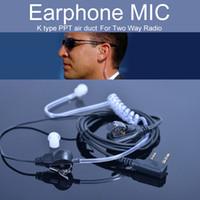 kulaklık pini akustik toptan satış-Kenwood k tipi walkie talkie aksesuarları earphone mic için uv-5r hava akustik tüp 2 pin ptt kulaklık kulaklık boğaz mic mikrofon