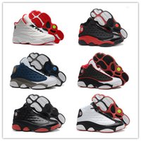 Wholesale Basketball Shoes - 2017 Mens Basketball Shoes Retro 13 Bred Black True Red History Of Flight DMP Discount Sports Shoe Women Sneakers Retro 13s With Box
