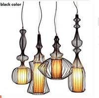 Wholesale Birds Light Fixtures - Fashion Europe America Countryside Vintage E27 220V Full Sets Iron Metal Wire Birds Cage Pendant Lights Lamp Indoor Lighting Fixtures