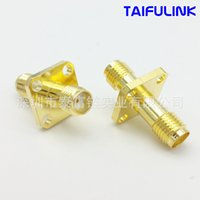 Wholesale Antenna Female Connector - Taifulink SMAKKF12.7 * 12.7 Pairs of Female Head Flange Plate Length 24 Mm High Frequency Connectors The Gold-plated Copper HS563