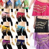 göbek dansı paraları toptan satış-Oryantal Dans Kemer 10 Renkler 3 Satır 128 Paraları Mısır Kalça Etek Eşarp Wrap Için dans sahne Kostüm