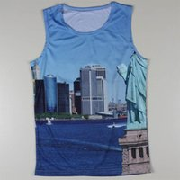 Wholesale Famous Animal Pictures - Wholesale-Creative Euro Size New York City Fashion Shirts Mens 3D Sleeveless Tank Tops Leisure Fitted Summer Famous Painting Picture Vests