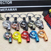 Wholesale metal car parts resale online - Auto Parts Metal Turbocharger Keychains Key Chains Zinc Alloy Electroplating Drawing Sleeve Spinning Turbine Turbocharger Keyring Keyfob