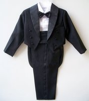 Wholesale Boys Tuxedo Suit Free Shipping - Free shipping Cute boy tuxedo Flower Girl Dress costumes birthday suit Girdle style white and black Five-piece suit (for 1T-10T)