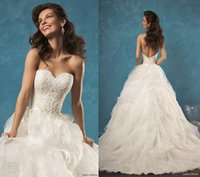 Wholesale Sweetheart Empire Organza - New Custom 2017 Amelia Sposa Wedding Dresses Sexy Lace Sweetheart Strapless Beautifully Organza A-Line Plus Size Wedding Dress Bridal Gowns