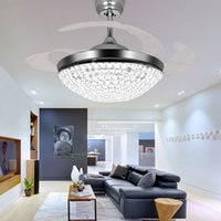 Wholesale Crystal Chrome Ceiling Lights - Crystal LED Ceiling Fans Light 42 Inch Mordern Fan Chandelier Ceiling Light with Remote Control for Indoor Living Dining Room Bedroom House