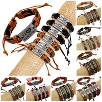Wholesale men's bracelets online - Charms Bracelets For Women Men Leather popular Braided Adjustable Cuff Bracelet Women Men s Casual Jewelry Friend Leather Bracelet