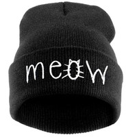 Wholesale Hats For Women Drops Shipping - Wholesale-2016 New Fashion MEOW Cap Men Casual Hip-Hop Hats Knitted Wool Skullies Beanie Hat Warm Winter Hat for Women Drop Shipping