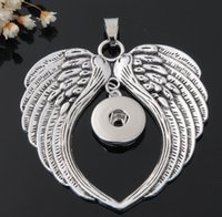 Wholesale Metal Charms Wing - 20Pcs 2016 metal ginger snap button jewelry boho wings pendant Necklace for women's fit 18mm snaps men's Vintage accessories