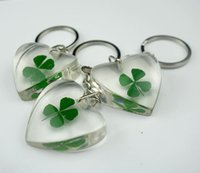 Wholesale Real Shamrock - FREE SHIPPING wholesale 12 pcs COOL SHAMROCK KEYCHAIN AWESOME REAL FOUR LEAF CLOVER KEY RING