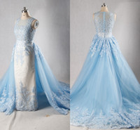 Wholesale Evening Gowns Cathedral Train - 2018 Light Sky Blue Lace Evening Dress With Detachable Cathedral Train Luxury Elegant Illusion Beading Rhinestone Real Formal Party Gowns