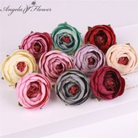 Wholesale Garden Table Plastic - 50pcs  Lot Silk Small Tea Rose Buds Artificial Flower Heads Wedding Diy Decoration For Home Garden Office Table Accessories Decor